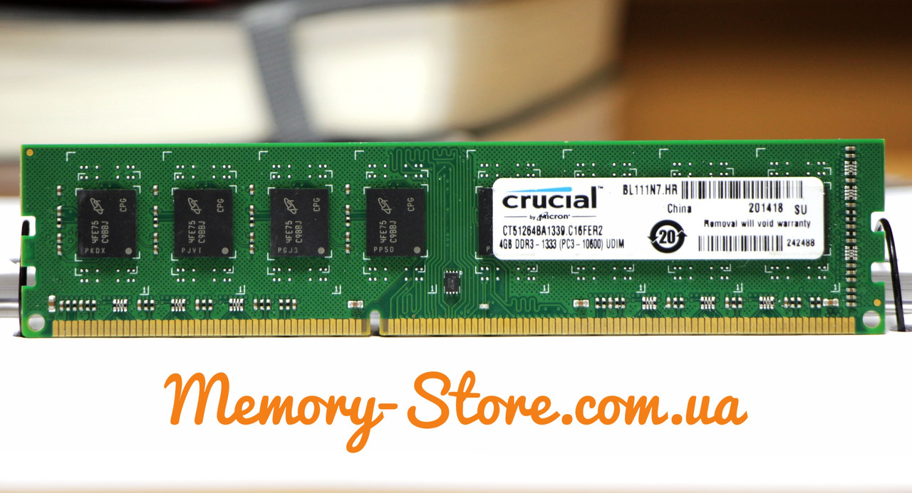 Оперативная память для ПК DDR3 Crucial 4Gb 2Rx8 PC3-10600 1333MHz Intel и AMD, б/у