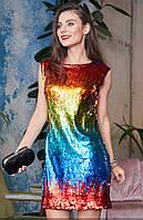 c54c327a815 Разноцветное мини платье с пайетками. Модель 20000. Размеры 42-46 42