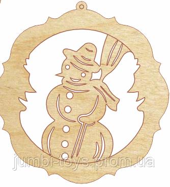 НР Дерев'яна іграшка на ялинку: Сніговик у колі (у)