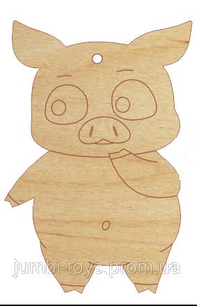 НР Дерев'яна іграшка на ялинку: Свинка 2 (стоїть)