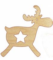 НР Дерев'яна іграшка на ялинку: Оленятко з зірочкою(у)
