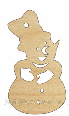 НР Дерев'яна іграшка на ялинку: Сніговик (у)