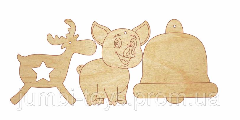 НР Дерев'яна розмальовка Новорічний Подаруночок:Прикраси на ялинку №4 ( Свинка, оленятко, дзвіночок)