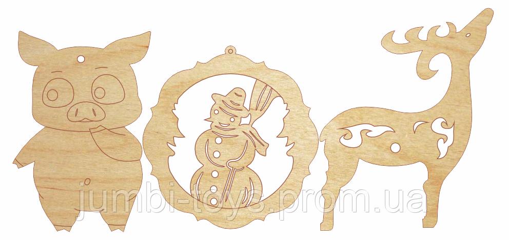 НР Дерев'яна розмальовка Новорічний Подаруночок: Прикраси на ялинку №3 Свинка, сніговик,оленятко