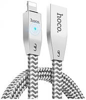 Кабель Hoco U11 Zinc Alloy Reflective Knitted Lightning 1м Silver, фото 1