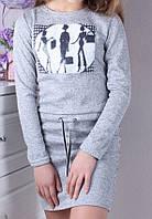 Платьеподростковое для девочки 9-14лет, светло-серое, фото 1