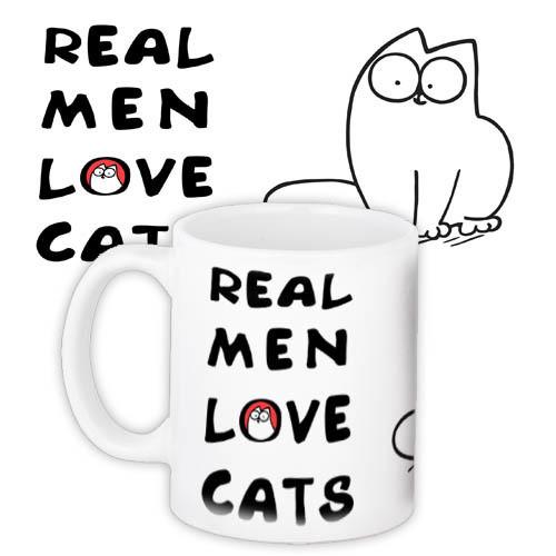 Кружка с принтом Real men love cats 330 мл (KR_PRI100)