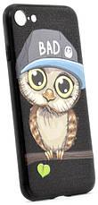 """Чехол накладка YCT для iPhone 7/8 (4.7 """") TPU + PC с тиснением Мальчик сова Черный, фото 3"""