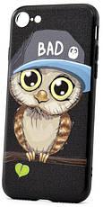 """Чехол накладка YCT для iPhone 7/8 (4.7 """") TPU + PC с тиснением Мальчик сова Черный, фото 2"""