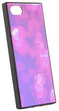 """Чехол накладка YCT для iPhone 7/8 Plus (5.5 """") TPU + Glass прямоугольный Сердца розовые, фото 3"""
