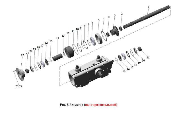 Редуктор (вал горизонтальный) ЖК-80 и ЖК-60, фото 2