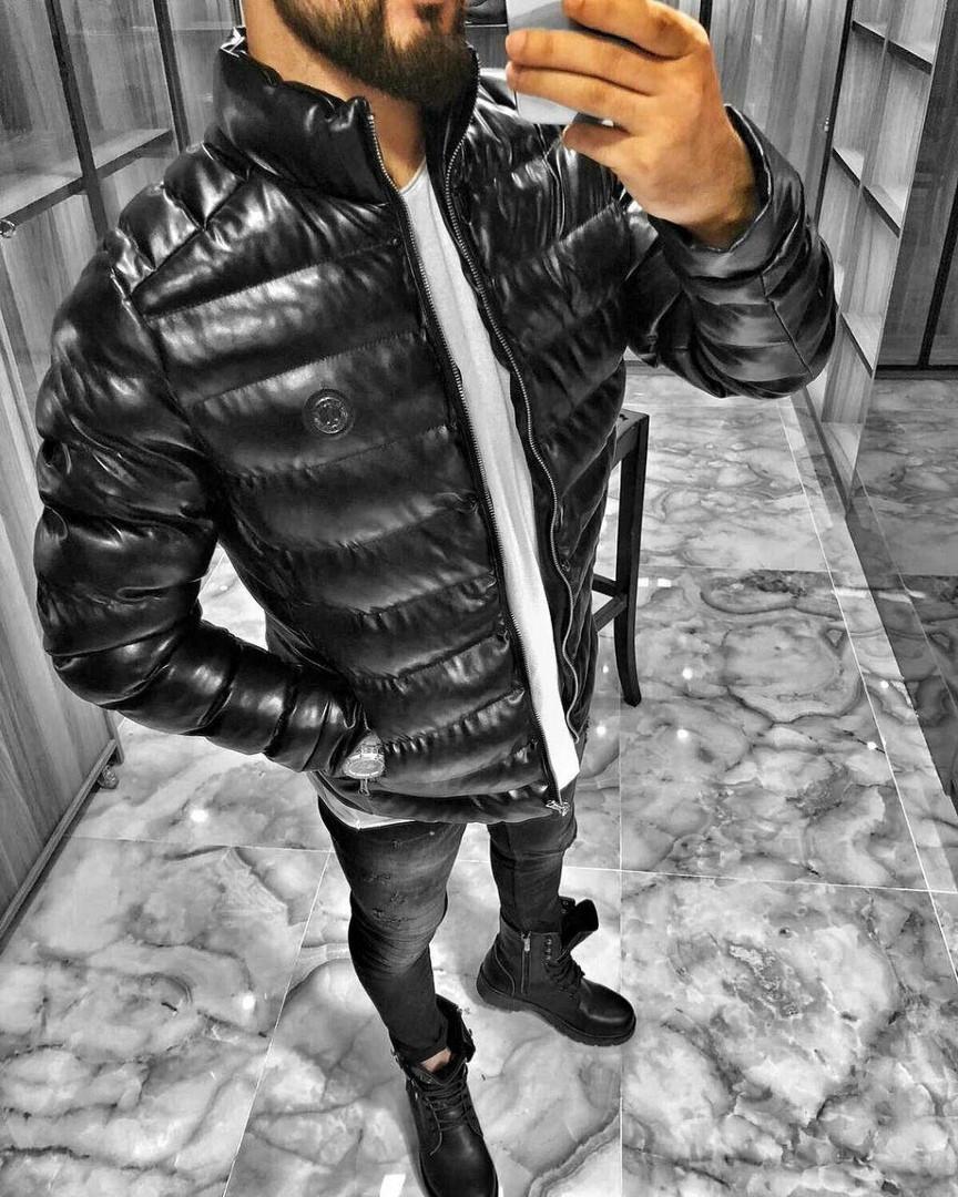 9c79bc99d70 Мужская зимняя куртка кожзам черная размер С - Компания