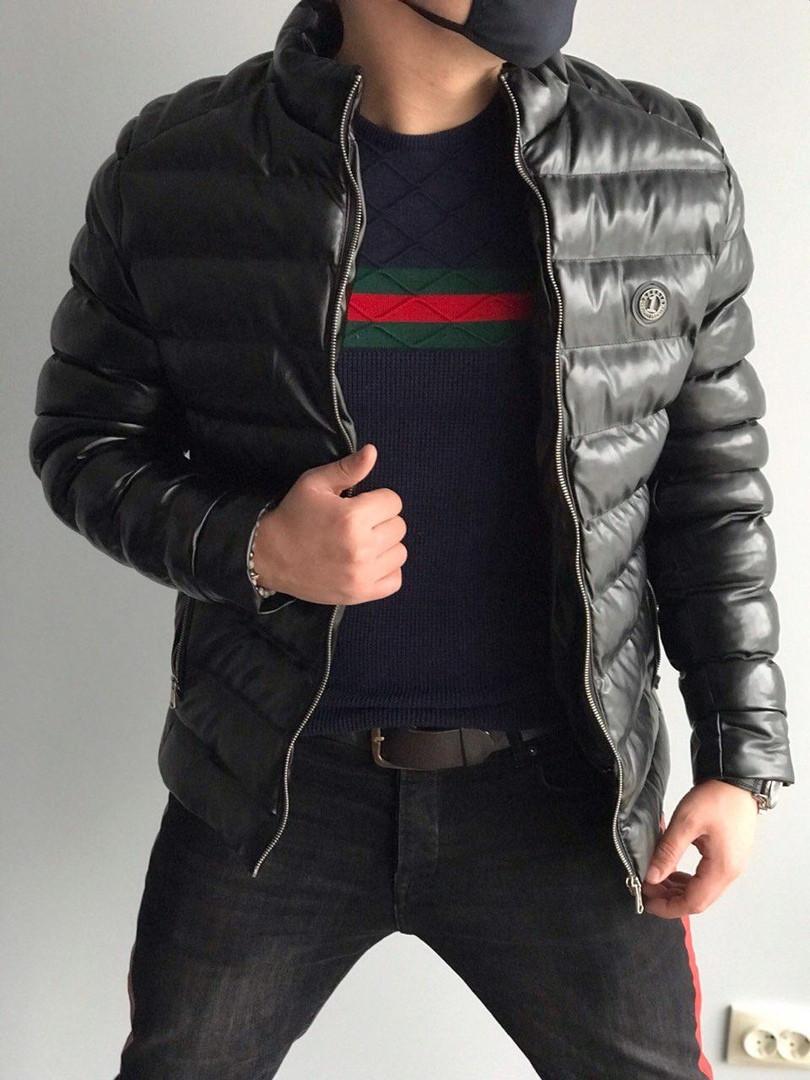 1d1433a8577 Мужская зимняя куртка кожзам черная размер С  продажа
