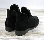 Замшевые короткие ботинки женские черные на шнуровке, фото 2