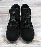 Замшевые короткие ботинки женские черные на шнуровке, фото 3