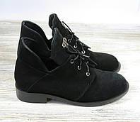 Замшевые короткие ботинки женские черные на шнуровке, фото 1