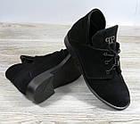 Замшевые короткие ботинки женские черные на шнуровке, фото 4