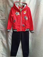Спортивный костюм детскийдля девочки, 7-11лет, красный, фото 1