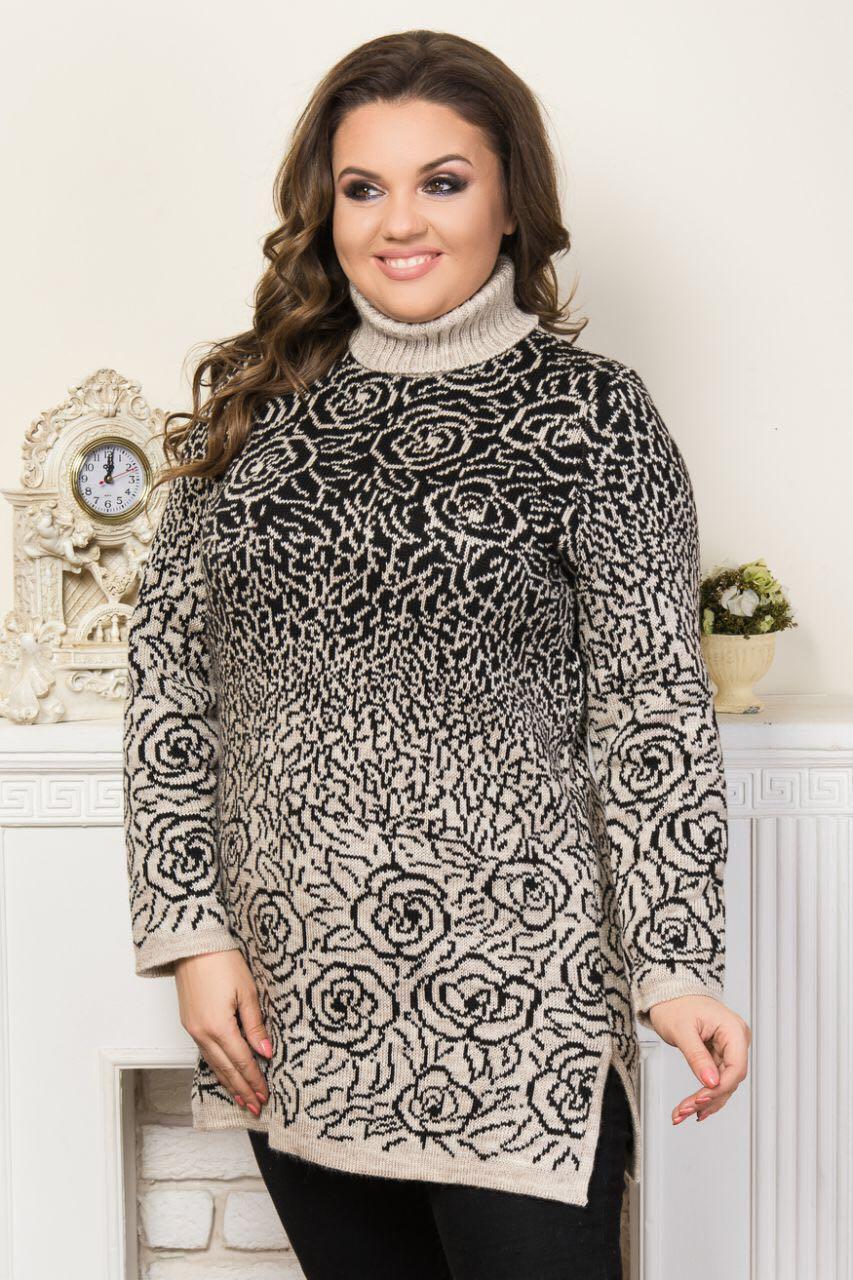 Стильное платье-туника в розах под горло батал р. 50-58