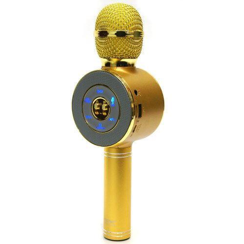 Микрофон караоке беспроводной bluetooth с чехлом WSTER WS668 Gold
