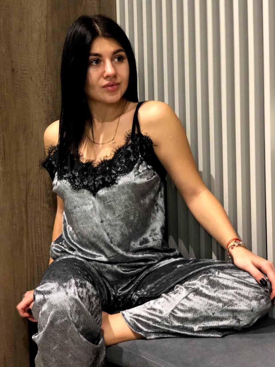 Брючная женская пижама из велюра