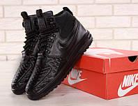 """Кроссовки мужские кожаные Nike Lunar Force 1 Duckboots 17 """"Черные"""" высокие р. 41-45, фото 1"""