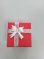 Подарочная коробочка красная с тканевым бантом