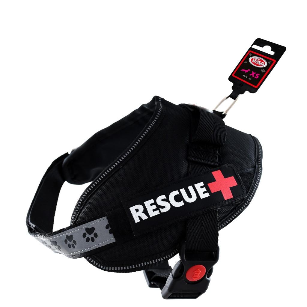 Шлея усиленная Pet Nova Rescue+ XS 30-40 см Чёрная
