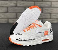 """Кроссовки мужские кожаные Nike Air Max 1 Just Do It """"Белые"""" р. 41-45, фото 1"""