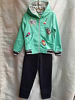 Спортивный костюм детскийдля девочки, 3-6лет, мятный, фото 1
