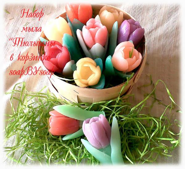 Большая корзина, с мыльными тюльпанами - это идельное решение для вашего весеннего подарка!