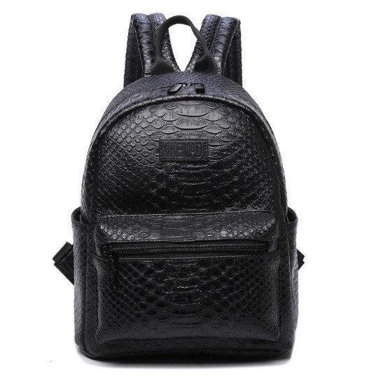 Рюкзак женский кожзам Snake print Черный