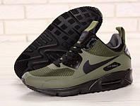 """Зимние мужские кожаные кроссовки Nike Air Max 90 """"Зеленые"""" р. 41-45, фото 1"""