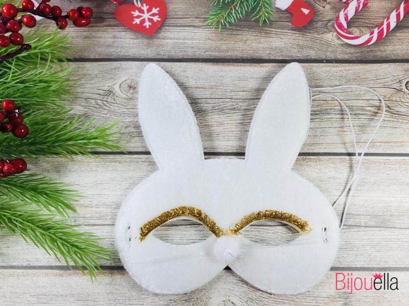 Мягкая маска белый Зайка на резинке, на новогодний костюмированный праздник