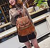 Рюкзак женский кожзам с бахромой Cowboys Backpacks Светло коричневый, фото 2