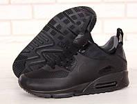 """Зимние мужские кожаные кроссовки Nike Air Max 90 """"Черные"""" р. 41-45, фото 1"""