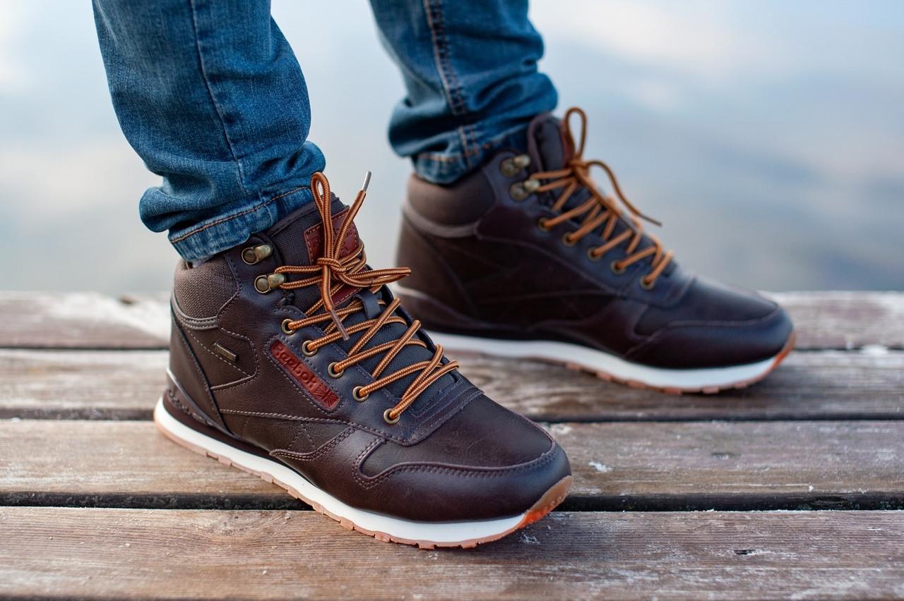 a44f86b8 Мужские зимние высокие кроссовки Reebok на меху коричневые реплика  (реальные фото)