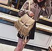 Рюкзак женский кожзам с бахромой Cowboys Backpacks Хаки, фото 2