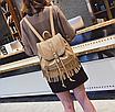 Рюкзак женский кожзам с бахромой Cowboys Backpacks Хаки, фото 3