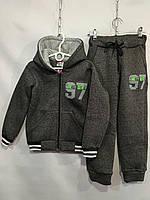 Спортивный костюм детскийдля мальчика, 7-11лет, серый с зеленым, фото 1