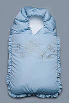 """Зимний конверт для новорожденного """"Снежинка"""" на выписку синий"""