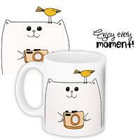 Кружка с принтом Enjoy every moment cat 330 мл (KR_PRI074)