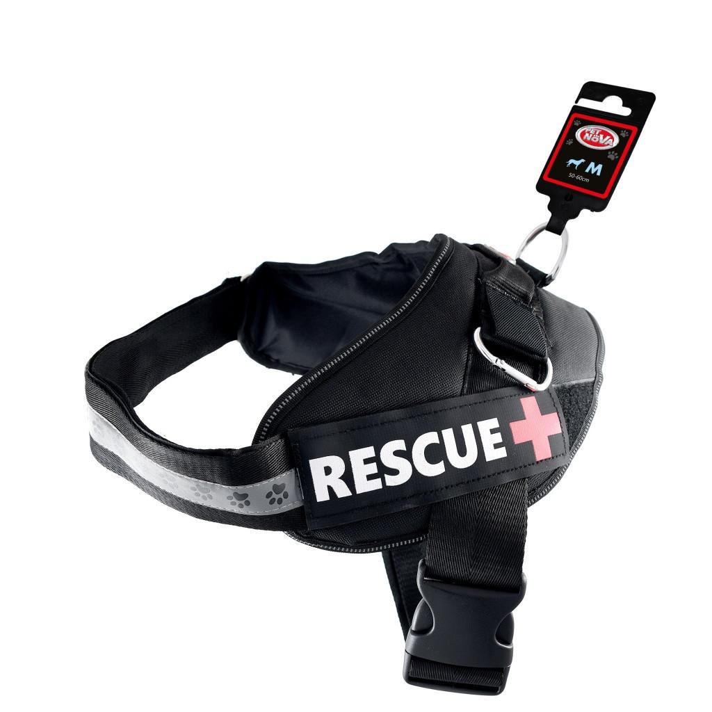 Шлея усиленная Pet Nova Rescue+ M 55-65 см Чёрная