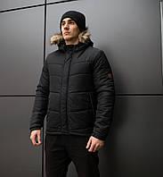 Мужская зимняя куртка с мехом Pobedov Levyy bereg BLACK
