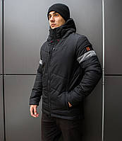 """Куртка мужская зимняя с капюшоном Pobedov """"Vernyy put'"""" Black (grey inset)"""
