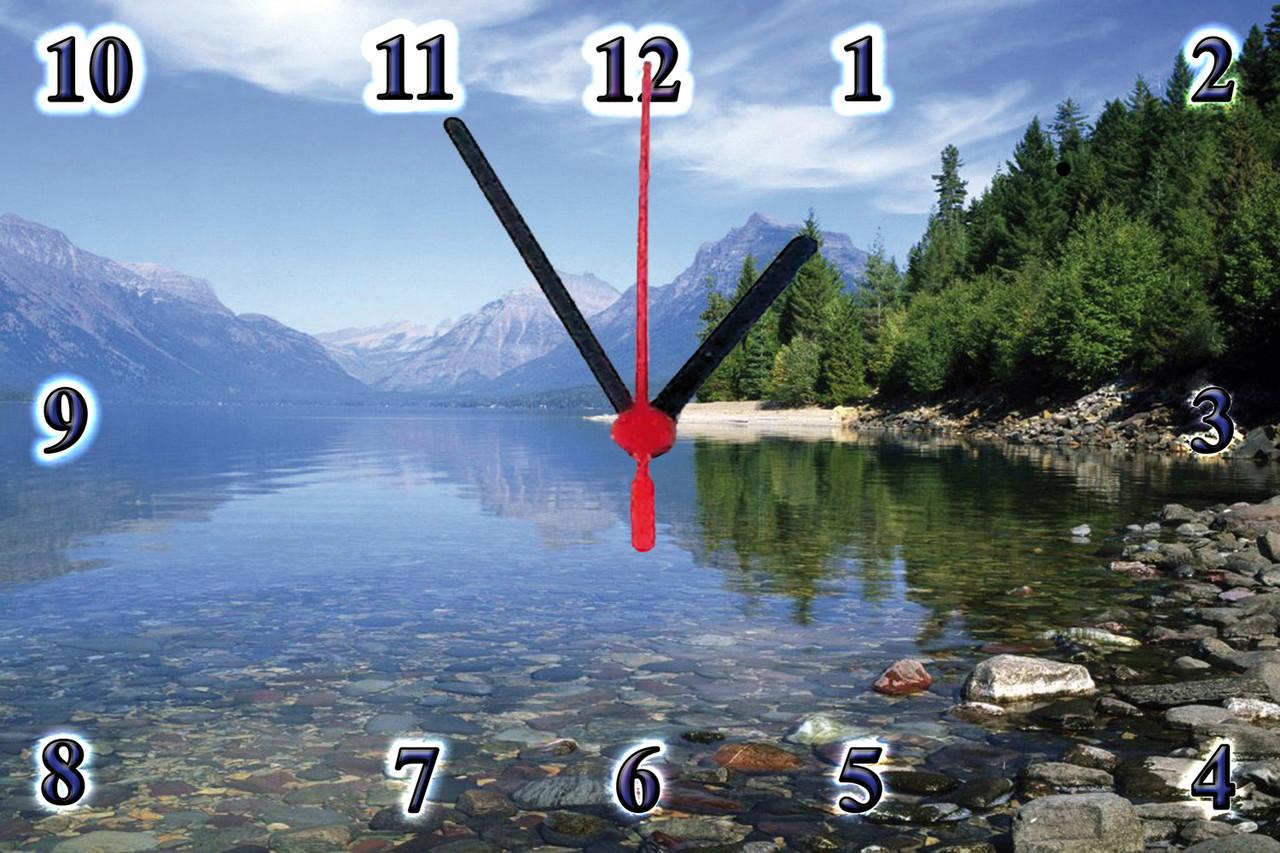 """Настенные часы """"Озеро в горах"""" на стекле кварцевые"""