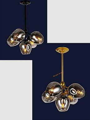 Люстра подвесная Bubble в стиле lolt LV  - очень модная золотой корпус+темные плафоны, фото 2