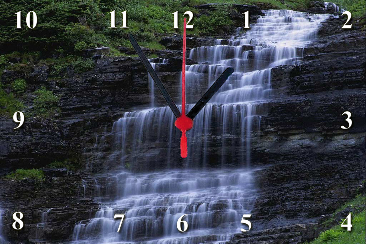 "Настенные часы секлянные  ""Водопад"" кварцевые"