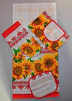 Набор кухонный подарочный льняной полотенце, прихватка , рукавица, передник