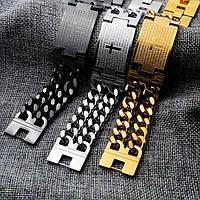 Мужской браслет из стали звеньевой с титановым покрытием